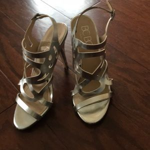 BCBG strappy silver sandal with heel!